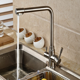 Wholesale And Retail Brushed Nickel Kitchen Faucet Vessel Sink Mixer Tap Pure Water Swivel Spout Deck Mounted