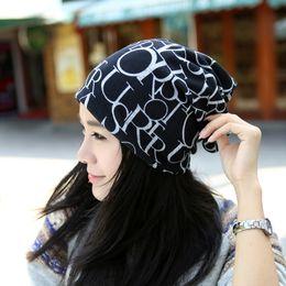 Korean Headband Cap Letter Hat Infinity Scarf Lady Fashion Hats Multi-function