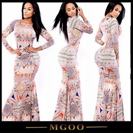 Wholesale MGOO Stretch Long Sleeves O Neck Maxi Party Dress For Women Floor Length Bodyc Con Spring Long Dresses With All over Print