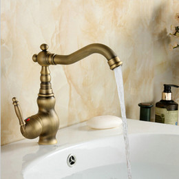 Wholesale Antique Brass Single Handle Bathroom Faucet Lavatory Vessel Sink Basin Mixer Tap Swivel Spout TAPS A F008