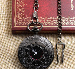 Wholesale black classic Roman Pocket watch vine pocket watch Men Women antique models Tuo table watch PW025
