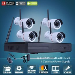 Plug And Play 4CH Wireless NVR CCTV System 720P IP Camera WIFI Waterproof IR Night Vison Home Security Camera Surveillance Kit