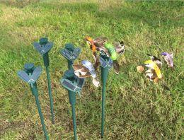 Wholesale Solar hummingbird hummingbirds garden toys Solar bird Emulation bird Fly educational toy solar battery New Garden Decoration GIFTs