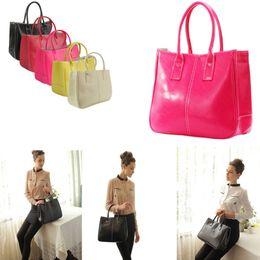 Wholesale Korean Fashion Yellow Satchel Bag - women leather tote handbag fashion summer candy color shoulder bags Messenge Bag For Women 7 Colors