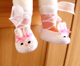 2015 Handmade White Fashion Crochet Bunny baby shoes, White handmade shoes, Baby Girl Ballerina first walker shoes