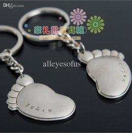 Wholesale Pair Lover s keychain Ah feet Lovely Baby Foot Footprint Keychain Keyring Keyfob Cute Creative Gift