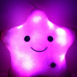 Wholesale Shaped Colorful Lights - 2016 Colorful Decorative LED Pillow Luminous Star Shape Plush Pillow Glow Cushion Light Sofa For Children Birthday Free Drop Shipping