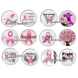 Wholesale Noosa Chunky Ginger Snaps Button DIY Interchangeable Pink Ribbon Breast Cancer Awareness Snaps Buttons for Bracelet Rings