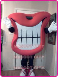 Wholesale Big red mouth mascot costume red lip theme adult size laughing mouth mascotte carnival party birthday fancy dress kits sw1678