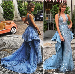 Custom made Bead Sequins Light Blue Mermaid Zuhair Murad Long Formal Evening Dresses No Sleeve Elegant Prom Dress Sexy Party Gowns Vestidos