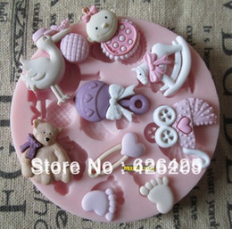 Wholesale 1PCS baby shower party fondant molds silicone mold soap candle moulds sugar craft tools chocolate moulds bakeware