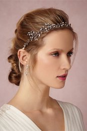 Rhinstone Pearl Silver Headband Bridal Hair Vine Jewelry Wedding Headpiece Handmade Accessories Women Headbands with ribbon