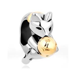 Silver Color Plating Cat Playing Gold Plating Woolen Yarn Ball Bead European Charm Fit Pandora Bracelet