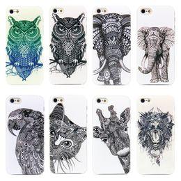 Wholesale-2015 Vtg Style Head Case Aztec Elephant Giraffe Animal Hand Drawn Animal Back Case Cover For  i Phone iPhone 4 4s 5 5s