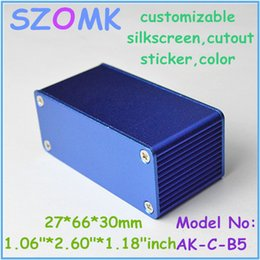 Wholesale 1 piece hot selling small blue aluminum powder coating enclosuure x66x30mm aluminium box diy aluminum enclosures for electronics