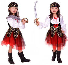 Beautiful Pirate Capain Costume Kids Halloween Party Stage Cosplay Costume Cute Pirate Dress For Girl Red AN259