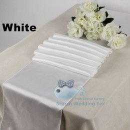 White Color Satin Table Runner \ Banquet Table Runner For Wedding Used On Table Cloth