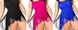 SEXY Women Plus Size Fringe Tassel Tankini Set Swimsuit Skirt women sexy Padded Tops High Waist Bikini Swimwear bath suit summer 4colors