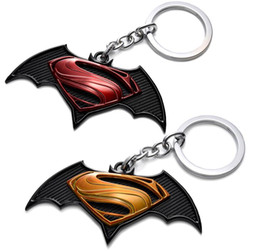 New Batman vs Superman Keychains Key chain Toys Batman vs Superman Dawn of Justice Keyrings Pendant Promotion Gifts