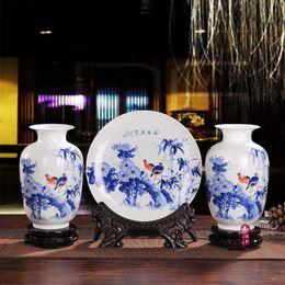 Wholesale 2016 Unique Jingdezhen porcelain ceramic three piece vase and decor plate fashion vase home decoration and gift