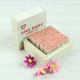 Free shipping 25pcs Set Lovely Diary Pattern Seal Stamp Wooden Box multipurpose Wood Rubber