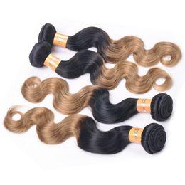 Brazilian Ombre Weave 1b 4 27 Mixed Color Brazilian Virgin Hair Weave Body Wave Brazilian Ombre Hair Fast Shipping