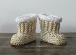 2015 Newborn Handmade Knit Baby Boots Cream Baby Boots Hand Crochet Baby Boots Baby Girl Boots 0-12M custom