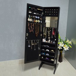 Wholesale Mirror Jewelry Cabinet Jewerly Armoire Wall or Door Mount or Floor Standing Jewelry Stroage Organizer Stock in USA