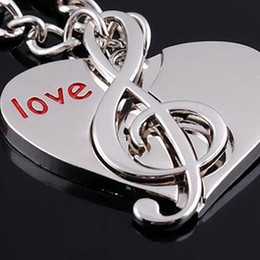 Wholesale-Cute Heart Notes Couples keychain Alloy Key Chain Keyring Keychain Lover Gift 4J8D