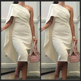 Wholesale 2016 Evening Dresses Elegant One Shoulder Wear Sexy Cheap Knee Length Cocktail Dress Saudi Arabia Women s Party Gowns Ivory Satin