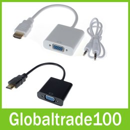 Wholesale 1080P HDMI to VGA Converter Adapter With Audio USB Cable for PC