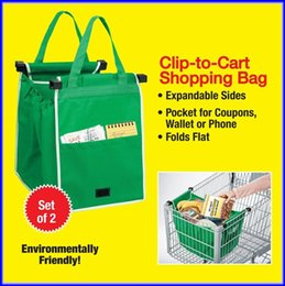 Wholesale Environmentally Friendly Grab Bag Clip To Cart Shopping Bags Pack With Retail Box DHL Shipping