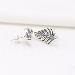 2016 NEWEST 925 sterling silver feather stud earrings with clear CZ fitS for pandora charms jewelry DIY 1pair  lot wholesale