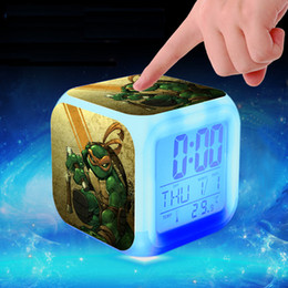 Wholesale Teenage Mutant Ninja Turtles LED Alarm Clock colors Digital Alarm Clock Table Clocks Movie Thermometer Night Light Colorful Glowing DIY Toy