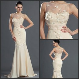 New Sexy Michael Costello Elegant Evening Dress Light Champagne Chiffon Sheath Free Shipping Party Gown With Cap Sleeves