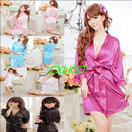 Wholesale New Women s Sex y Short Satin Robe with Lace Trim Sleeves Sleepwear Nightdress Brand New