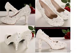 Wholesale 2015 Ivory Beautiful Vogue Lace Pearl High Heels Elegant Wedding Bridal Shoes Wedding Bridesmaid Shoes