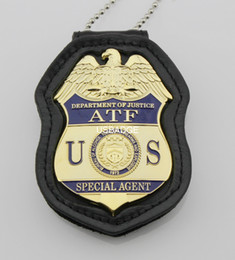 THE UNITED STATES US ATF metal Badge AND Federal leahter holder with chain --Brass MATERIAL