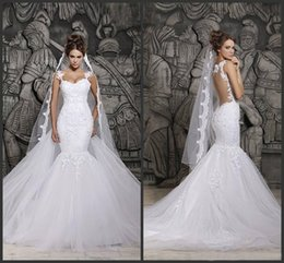 Wholesale Custom Made Beautiful Court Train Illusion Transparent Back Beaded Lace Mermaid Spring Wedding Dresses Bridal Gowns d41