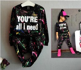 2088 new fashion girls tracksuit kids sport clothes set coloful letter printed children suit Girls Clothing