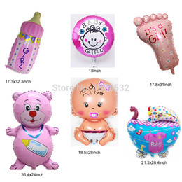 Wholesale HOT 6pcs Set Baby Shower Decorations Foil Balloons Lovely Baby  Shower Air Balls Girls