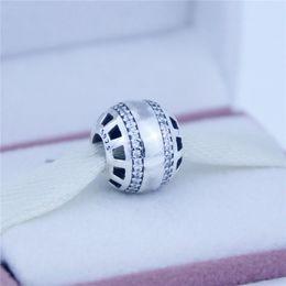Loose beads Fits Pandora Charms Bracelet 100% 925 sterling silver beads charm in sterling silver with clear cubic zirconia DIY women jewelry