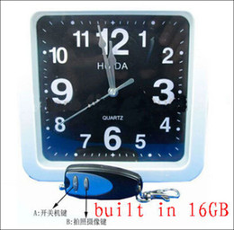 16GB Clock spy White square wall clock hidden spy camera dvr with 16GB memory,16GB Wall Clock Spy Camera with Remote Control