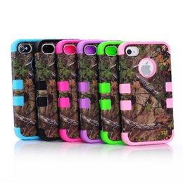 Wholesale New in triple layer hybrid real forest tree camo case cover for Apple iPhone S S inch plus inch