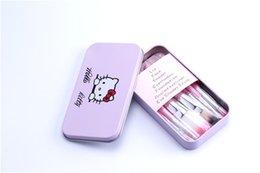 Wholesale Mini Hello Kitty componen cepillos cosméticos del maquillaje Kit de brochas de la caja del hierro de rosa de Tocador aparatos de belleza hola sistema de cepillo del maquillaje del gatito