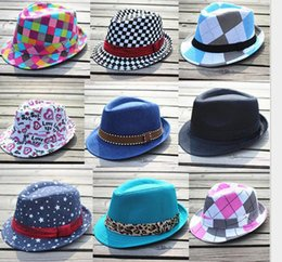 Wholesale 28 styles girls boys fedoras hats hot baby kids Jazz Cool Cap Photography Top summer sun Hat Cotton Trilby Floppy Hat fedora hat for T