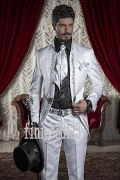 Wholesale 2016 Fashionable White Embroidery Groom Tuxedos Stand Collar Groomsmen Best Man Wedding Prom Dinner Suits Jacket Pants Tie G5195