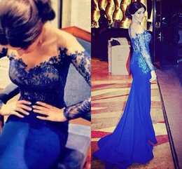 Hottest Mermaid Cocktail Dress Sheer Neck Appliques Back Zipper Long Sleeve Evening Dresses Gown Taffeta Sweep Train Prom Party Dresses 2015