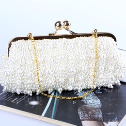 Wholesale Factory brand new handmade attractive beaded evening bag clutch purse with satin for wedding banquet party porm brides maids