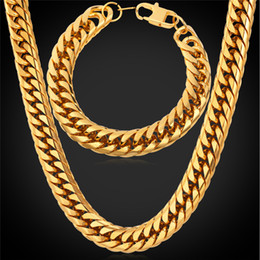 Wholesale U7 MM Big Chunky HipHop Gold Chain Necklace Bracelet Men Jewelry K Gold Black Gun Plated Stainless Steel African Ethiopian Jewelry Set